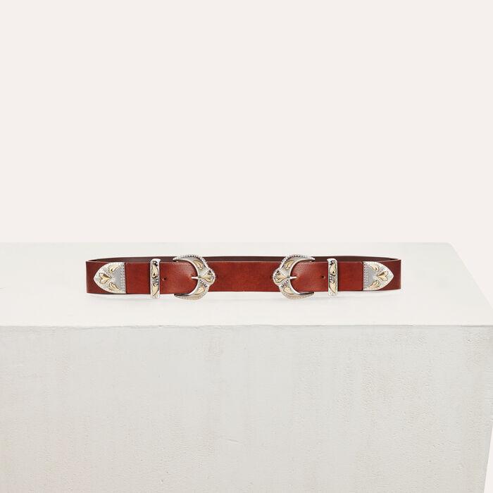 Cintura a doppia fibbia in pelle : Cinture colore Cammello