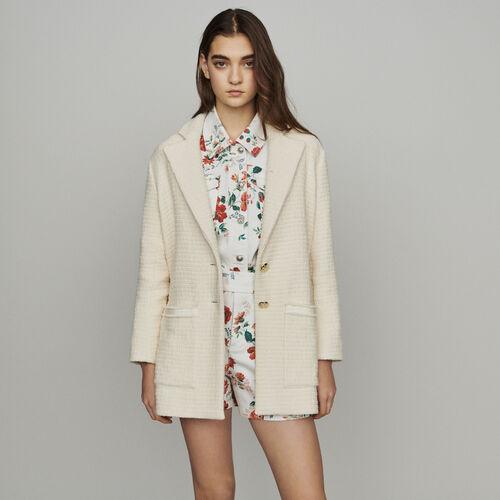 Cappotto stile tweed : Cappotti e Giubbotti colore Ecru