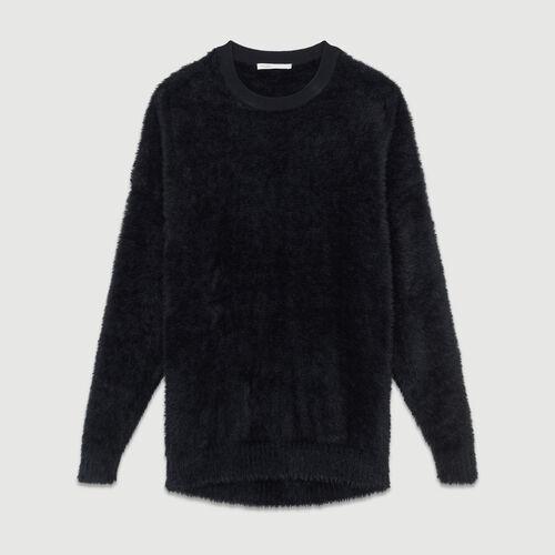 Pull in finta pelliccia : Maglieria colore Nero