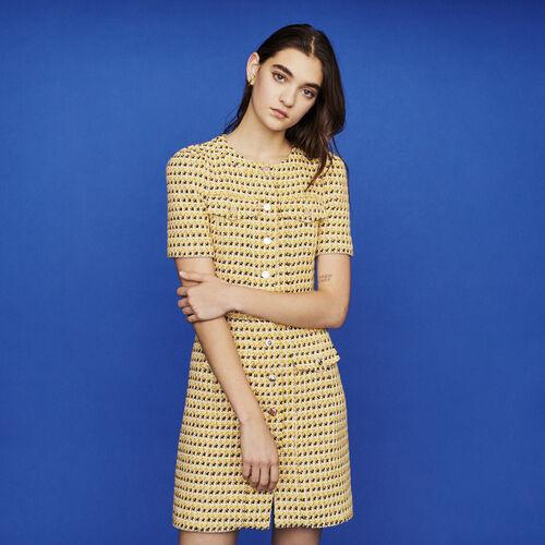 Vestito corto in tweed e lurex : Vestiti colore Giallo