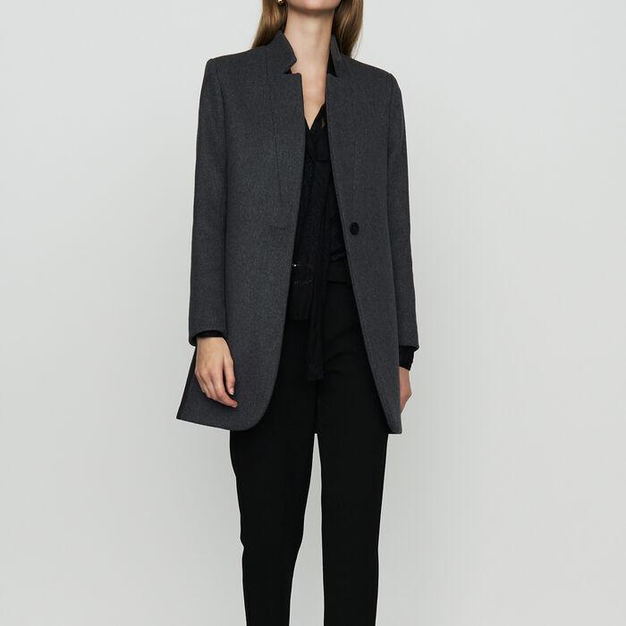 Cappotto dritto con bordo in satin : Cappotti colore Antracite