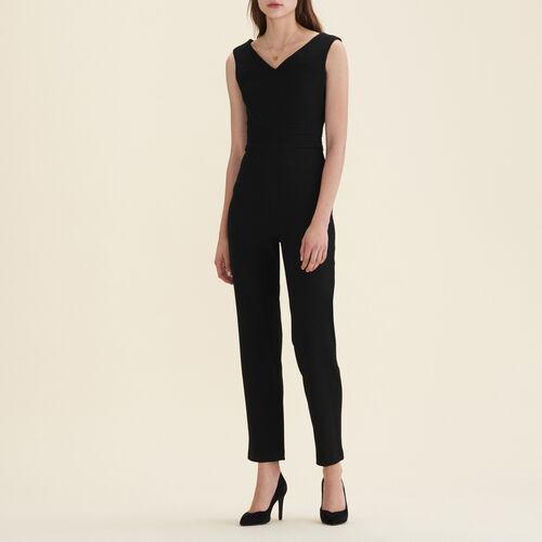 Tuta pantalone senza maniche in crêpe : Pantaloni colore Nero