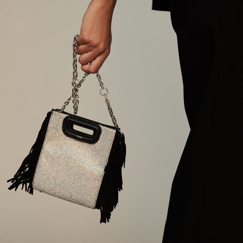 Leather and stellar-stud shoulder strap : M Mini colore Nero