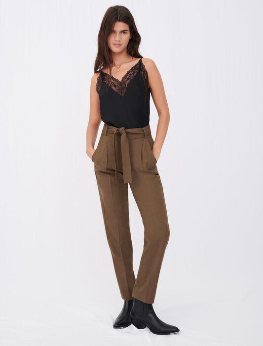 Pantaloni da completo dritti con cintura : Pantaloni e Jeans colore Marrone