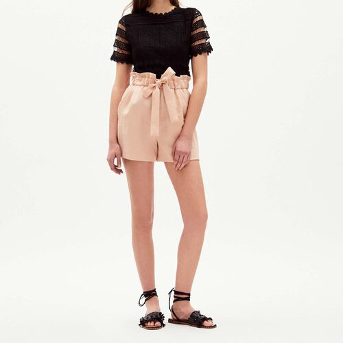Short with belt to be knotted : Gonne e shorts colore Nude