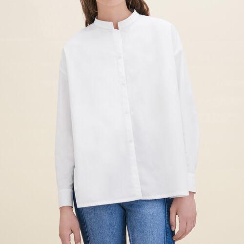 Camicia asimmetrica in popeline : Camicie colore Bianco