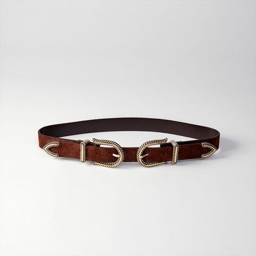 Cintura a vita alta con doppia fibbia : Cinture colore Nero