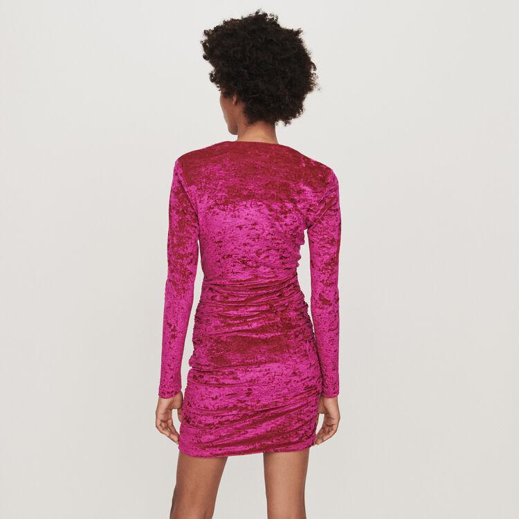 Vestito drappeggiato in velluto : Vestiti colore Rosa