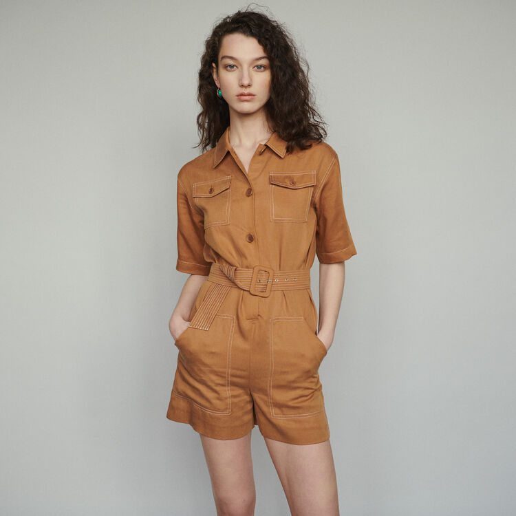 Tuta pantalone corto stile camicia : Gonne e shorts colore Terracotta