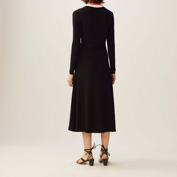 Long knitted wrap dress : Vestiti colore Nero
