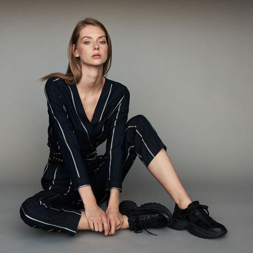 Tuta pantalone a righe : Pantaloni e Jeans colore Blu Marino
