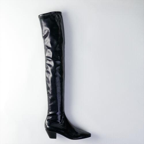 Stretch velvet goat leather booties : Stivali e Stivaletti colore Nero