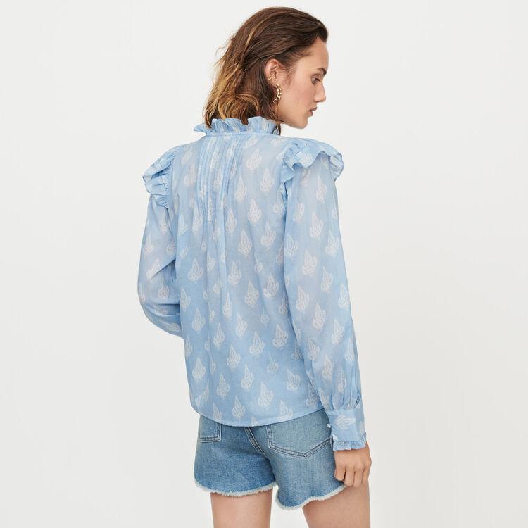 Top volant stampato in voile di cotone : Tops e Camicie colore Blu