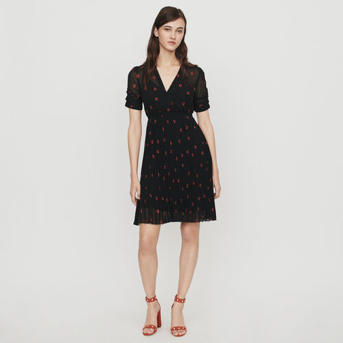 Dress with hearts embroidery : Vestiti colore Nero