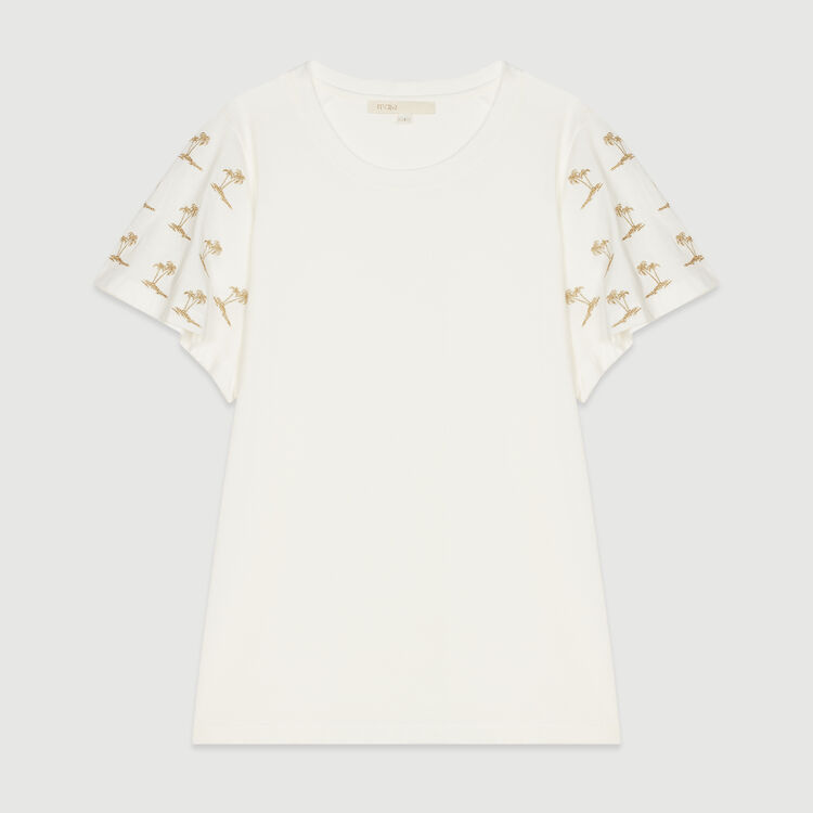 Tee-shirt con maniche ricamate : T-Shirts colore Bianco