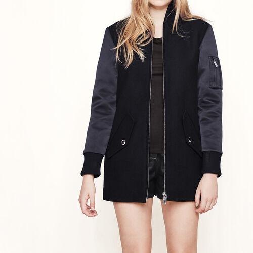 Cappotto bi-materiale stile bomber : Cappotti colore Nero