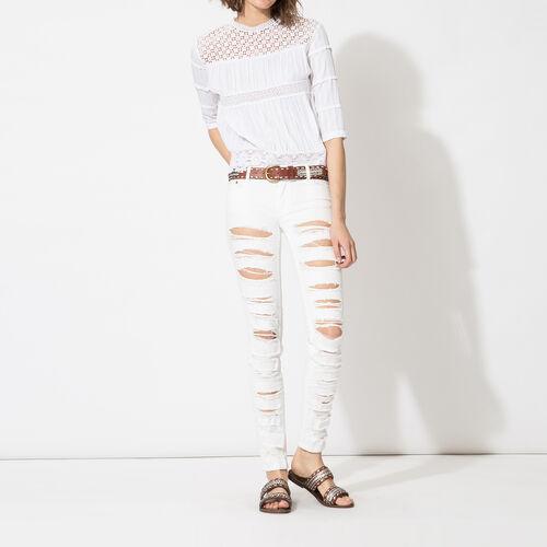 Jeans boyfriend strappati : Pantaloni & jeans colore Bianco