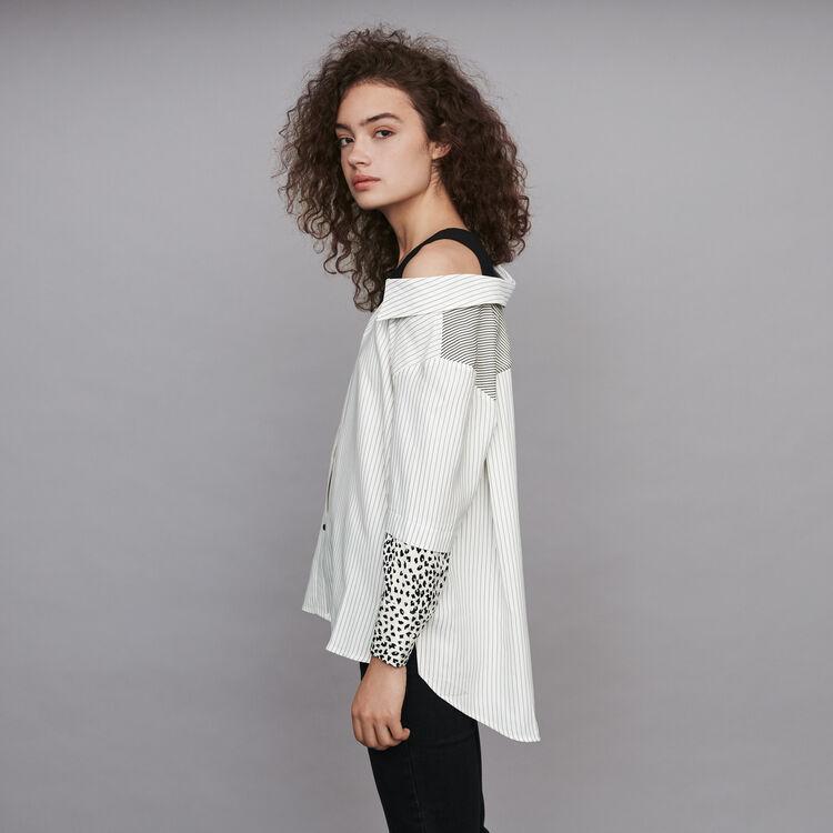 Top trompe-l'œil a righe : Tops e Camicie colore Bianco/Nero