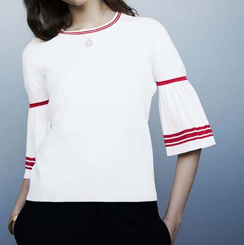Sweater with pleated sleeves : Maglieria colore Bianco