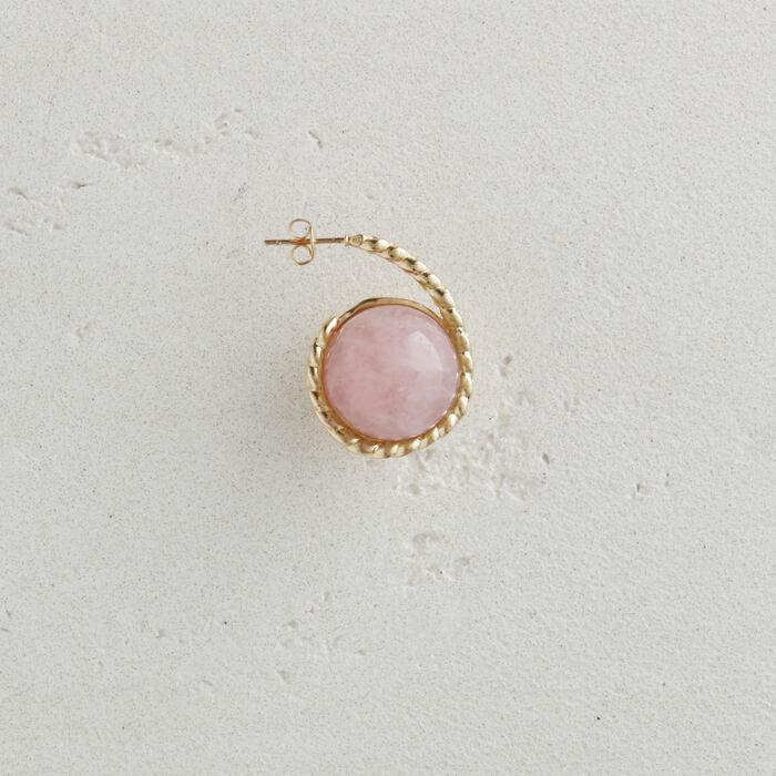 Orecchino sinistro in pietra naturale : Gioelli colore Rosa Tenue