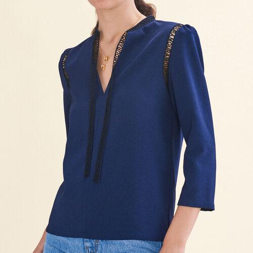 Blusa con decorazione : Tops colore Blu Notte