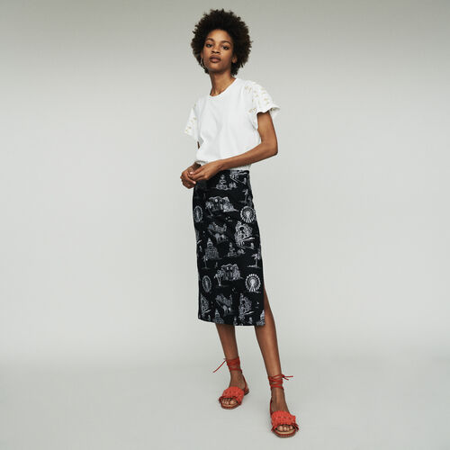 Gonna midi in crêpe ricamata : Gonne e shorts colore Nero