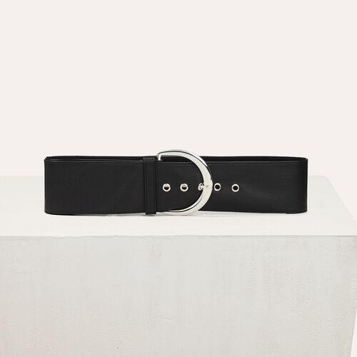 Cintura molto alta in pelle di vacchetta : Accessori colore Nero