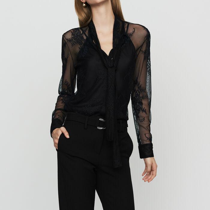 Camicia lavalliere in pizzo : Camicie colore Nero