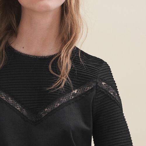 T-shirt con decorazioni in pizzo : T-shirts colore Nero