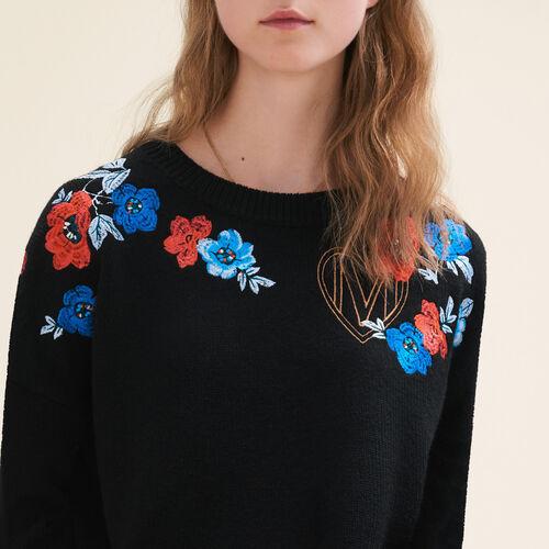 Pullover sottile in maglia con ricami : Maglieria colore Nero