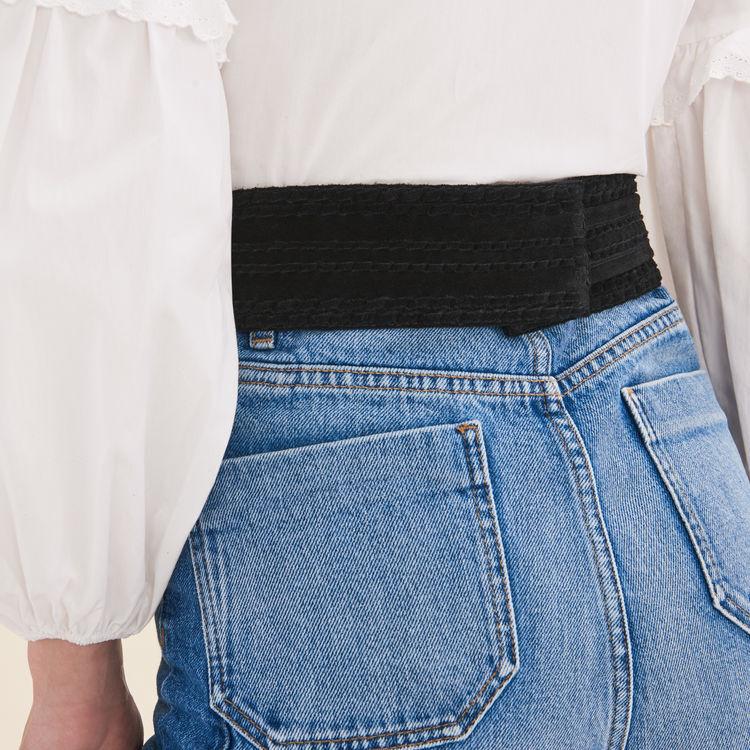 Cintura alta scamosciata da annodare : Cinture colore Nero