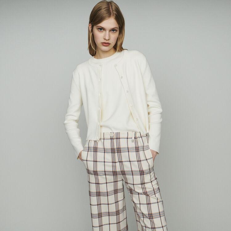 Cardigan corto in misto cotone : Maglieria colore ECRU