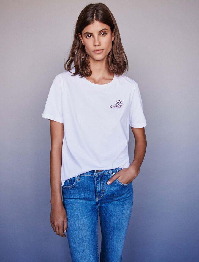 Tee-shirt in cotone con ricami e strass - Tutta la collezione - MAJE