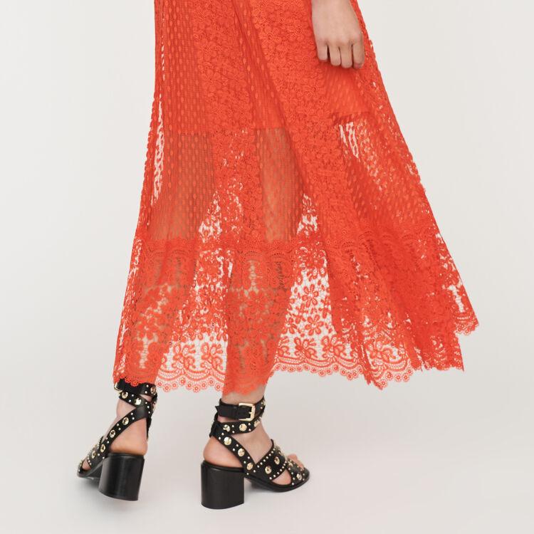 Vestito lungo in plumetis e pizzo : Vestiti colore Corallo