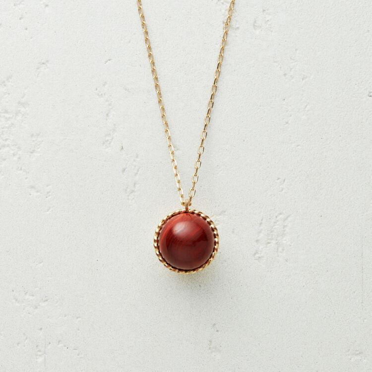 Collana con sfera in pietra naturale : Gioelli colore Rosso