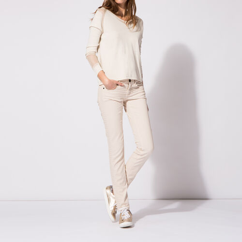 Jeans slim trapuntati : Pantaloni & jeans colore Nude
