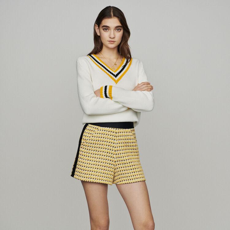 Pantaloncini in tweed e lurex : Gonne e shorts colore Giallo