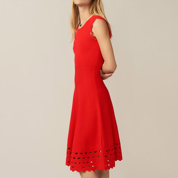 Vestito in maglia con ricami : Vestiti colore ROUGE