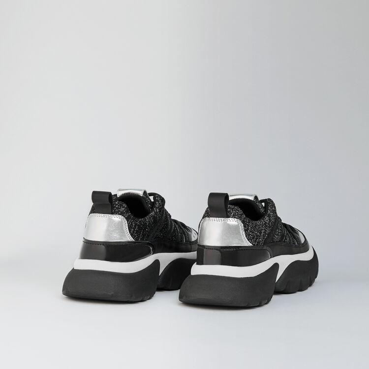 Sneakers W20 urbane in pelle e lurex : Sneakers colore Nero Lurex Argento