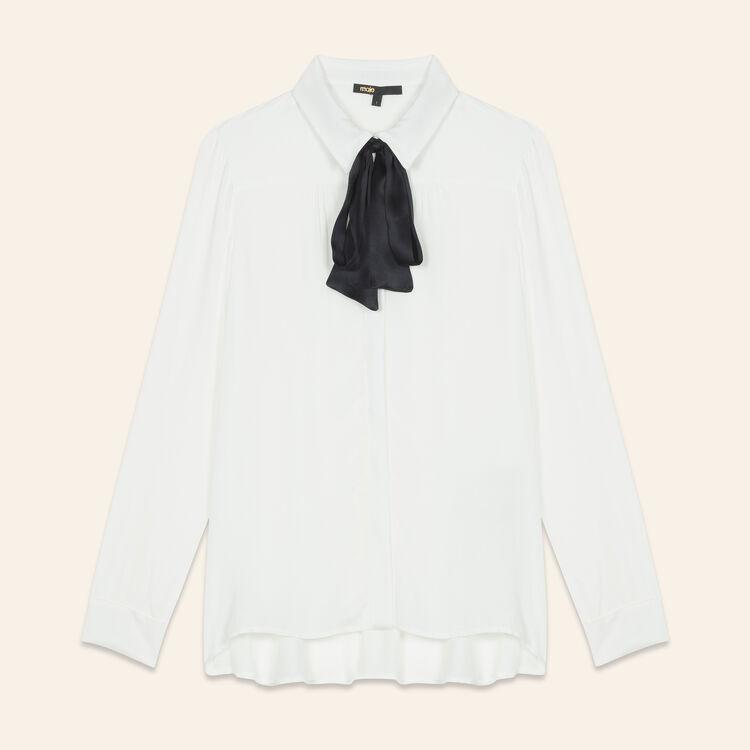 Camicia fluida con laccio lavallière : Tops colore Ecru