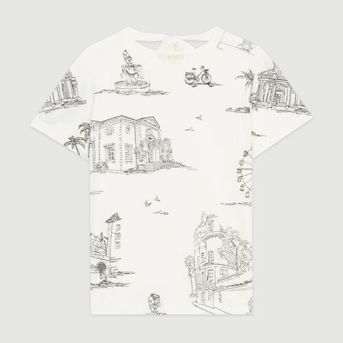 Tee-shirt con ricami Parigi in all-over : T-Shirts colore Ecru