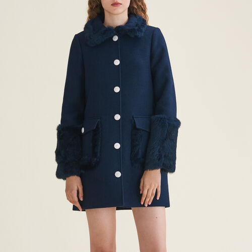 Cappotto dritto in misto lana e lapin - Cappotti - MAJE