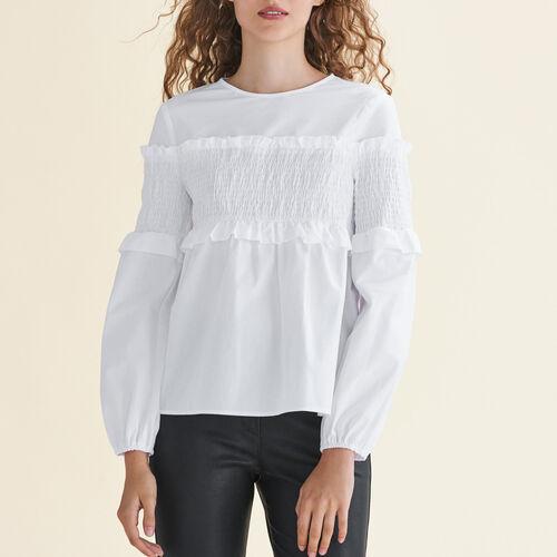 Top in cotone con punti smock : Tops colore Bianco