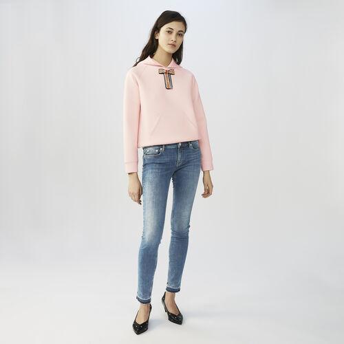 Bleu denim slim jeans : Jeans colore Denim