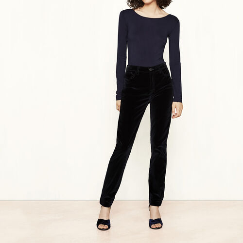 Pantaloni a vita alta in velluto : Pantaloni & jeans colore Blu Notte