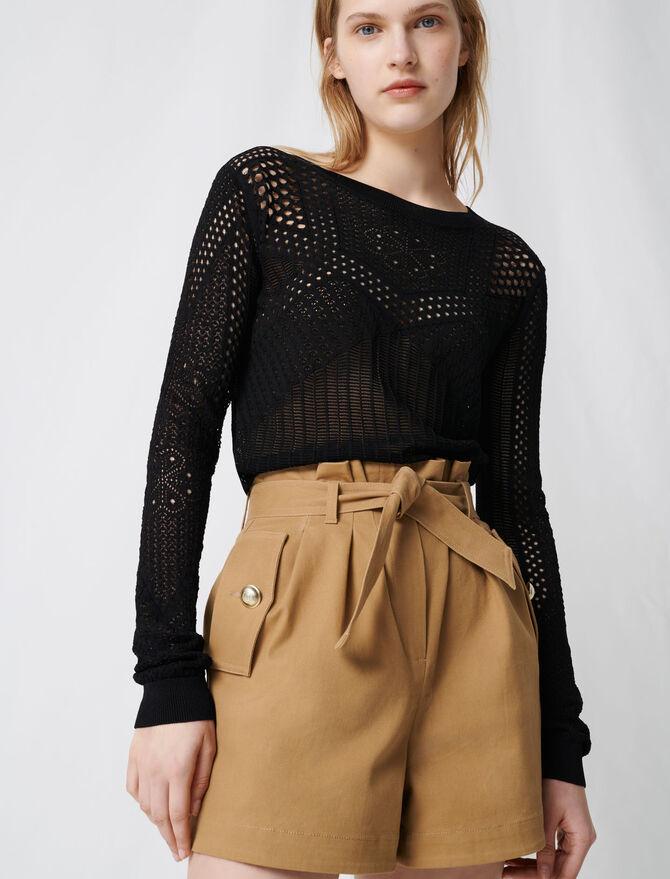 Short in tela di cotone con cintura - Gonne e shorts - MAJE