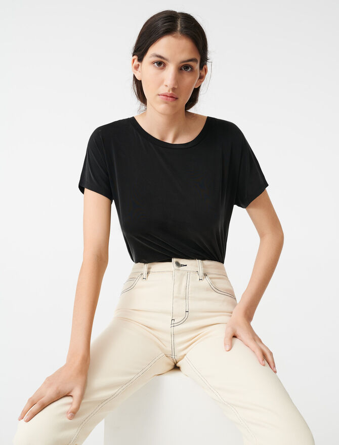T-shirt in cupro aperta sulla schiena - T-Shirts - MAJE
