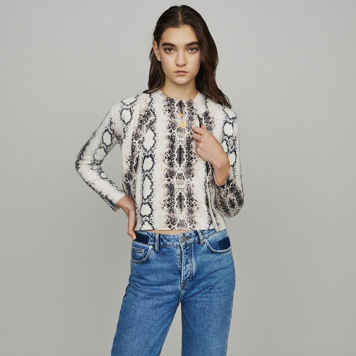 Cardigan corto con stampa pitonata : Pullover e cardigan colore IMPRIME