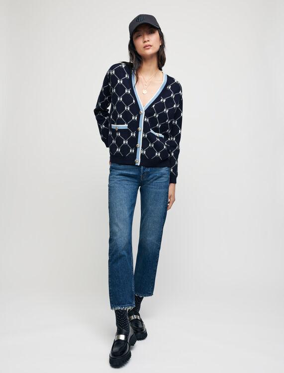 Cardigan in jacquard fiocchi a contrasto - Pullover e cardigan - MAJE