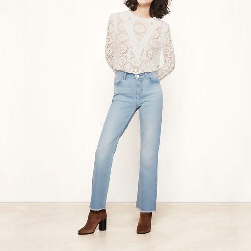 Jeans slim con finiture sfilacciate : Pantaloni & jeans colore Blu